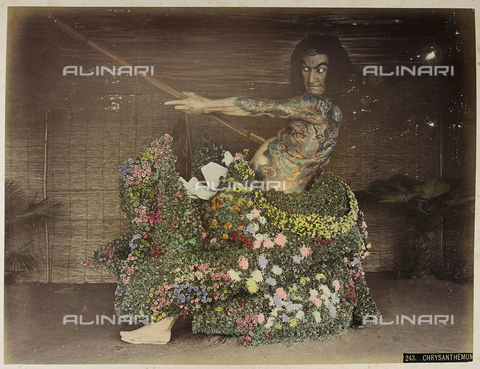 AVQ-A-004838-0095 - Portrait of a Japanese man tattooed with dress of chrysanthemums