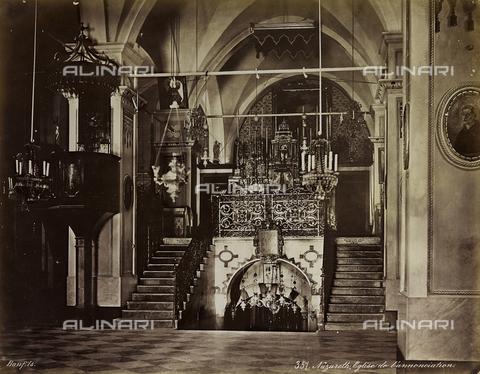 """AVQ-A-004884-0004 - Album """"Palestine 1887"""": interno della Basilica dell' Annunciazione di Nazaret in Galilea - Data dello scatto: 1887 - Archivi Alinari, Firenze"""
