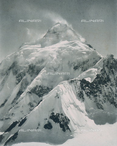 "BAF-A-004889-0003 - ""The expedition to Karakorum and the western Himalaya's by Prince Luigi Amedeo of Savoy, Duke of Abruzzi"": K2 mountain seen from the southern crest of the Staircase - Data dello scatto: 1909 - Archivi Alinari, Firenze"
