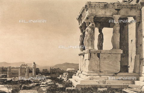 "BAF-A-004894-0102 - ""En Grèce par monts et par vaux"" (""In Greece Through Mountains and Valleys""): Porch of the Caryatids, part of the nucleus of the Erectheum, on the Acropolis of Athens - Data dello scatto: 1903-1910 - Archivi Alinari, Firenze"