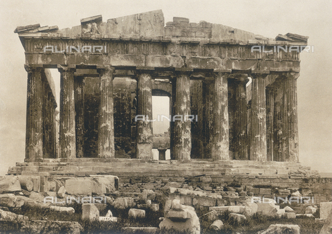"BAF-A-004894-0120 - ""En Grèce par monts et par vaux"" (""In Greece Through Mountains and Valleys""): western facade of the Parthenon in Athens - Data dello scatto: 1903-1910 - Archivi Alinari, Firenze"