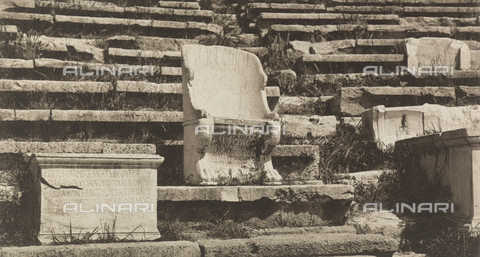 "BAF-A-004894-128B - ""En Grèce par monts et par vaux"" (""In Greece Through Mountains and Valleys""): seat of the Theater of Dionysus in Athens - Data dello scatto: 1903-1910 - Archivi Alinari, Firenze"