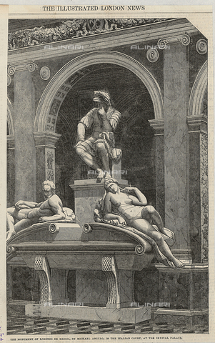 """BAF-S-00AAC1-0001 - Monument of Lorenzo de Medici by Michelangelo, engraved from a photograph by Philip H. Delamotte, in """"The Illustrated London News"""" of September 16, 1854"""