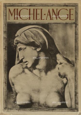 """BAF-S-19641L-0001 - Cover of the book by Adolfo Venturi """"Michel-Ange avec 296 reproductions hors texte, traduction de Jean Chuzeville"""" Paris, Les Editions G. Crès & Cie, 1927"""