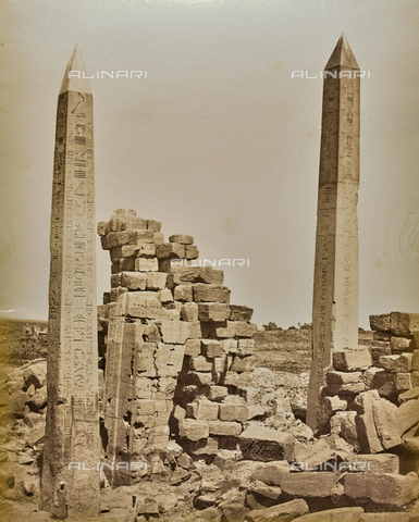 BAQ-A-001543-0074 - Karnak, View of the obelisks erected by Pharaoh Thutmose I and Queen Hatshepsut in the great temple of Amun-Ra - Data dello scatto: 1870 ca. - Archivi Alinari, Firenze