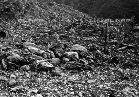 BCA-F-000024-0000 - The bodies of dead soldiers killed during a battle in the Val dei Ronchi in the Asiago Plateau, during World War I - Data dello scatto: 1915 - 1918 ca. - Archivi Alinari, Firenze