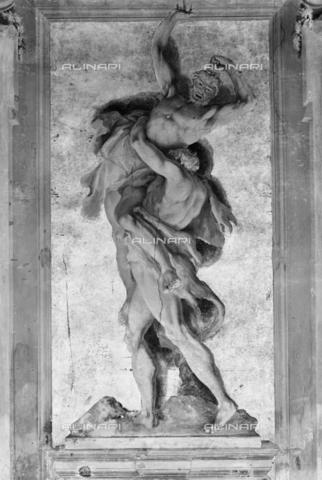 BEN-F-014740-0000 - The myth of Hercules with the Centaurs Hercules and Antaeus (gray monochrome), fresco, ca. 1707, Sebastiano Ricci (Giuseppe Tonelli), Palazzo Fenzi-Marucelli, Salon of Hercules, Florence - Raffaello Bencini/Alinari Archives, Florence
