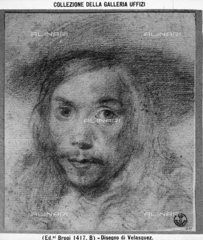 BGA-F-001417-0000 - Disegno raffigurante un volto maschile con cappello, opera di Diego Velazquez, presso la Galleria degli Uffizi a Firenze - Data dello scatto: 1890 ca. - Archivi Alinari-archivio Brogi, Firenze