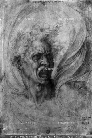 BGA-F-001790-0000 - Fury, drawing, Michelangelo Buonarroti (1475-1564), Cabinet of Drawings and Prints, Uffizi Gallery, Florence - Date of photography: 1890 ca. - Alinari Archives-Brogi Archive, Florence