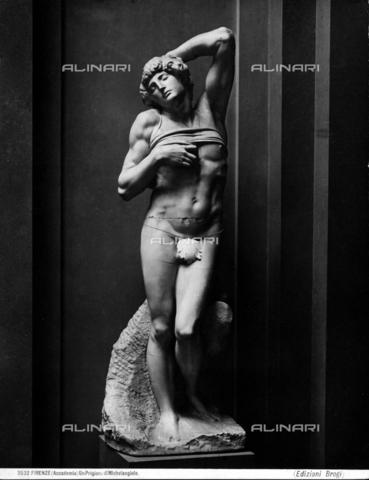 BGA-F-003532-0000 - Prigione di Michelangelo, detto lo schiavo morente, attualmente conservato nel Museo del Louvre a Parigi. - Data dello scatto: 1890 - Archivi Alinari-archivio Brogi, Firenze