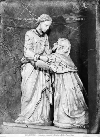 BGA-F-004525-0000 - The Visitation, glazed terracotta, Luca della Robbia (Florence 1399/1400-1482), Church of St. Giovanni Fuoricivitas, Pistoia - Date of photography: 1890 ca. - Alinari Archives-Brogi Archive, Florence