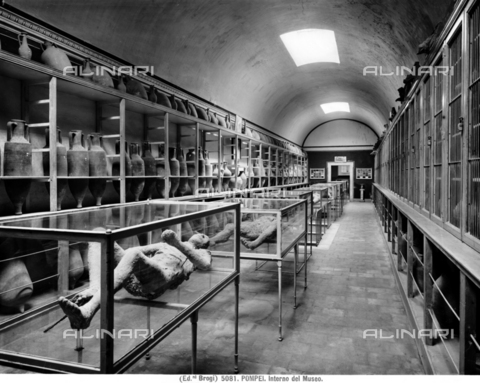 BGA-F-005081-0000 - Interior of the second room of the Archaeological Museum of Pompeii with amphorae used to transport wine and the casts of some of the victims of the eruption of Vesuvius in 79 AD found during the excavations. Multi-image - Date of photography: 1890 ca. - Alinari Archives-Brogi Archive, Florence