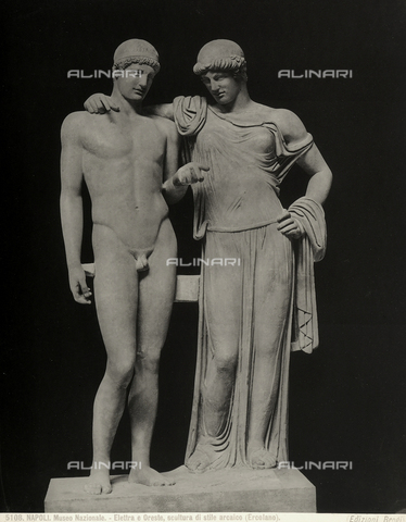 BGA-F-005108-0000 - Marble group of roman period known as 'Orestes and Electra', from the Temple of Serapis in Pozzuoli. The work, copy of two different originals, is in the Museo Archeologico Nazionale in Naples - Date of photography: 1879-1910 ca. - Alinari Archives-Brogi Archive, Florence