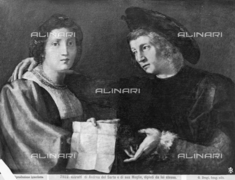 BGA-F-007922-0000 - Double Portrait, presumed portrait of Andrea del Sarto and his wife Lucrezia del Fede, oil on canvas, Florentine School (formerly attributed to Andrea del Sarto and Rosso Fiorentino), Palatine Gallery and Royal Apartments, Palazzo Pitti - Date of photography: 1890 ca. - Alinari Archives-Brogi Archive, Florence