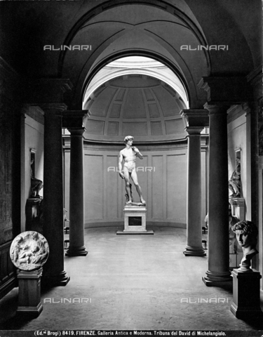 BGA-F-008419-0000 - The Hall of David at the Academy of Art in Florence: along the hall leading to the Gallery are statues of Lorenzo and Giuliano, the Madonna and Child with the Infant Baptist (Taddei Tondo)and a bust of David. - Data dello scatto: 1890 ca. - Archivi Alinari, Firenze
