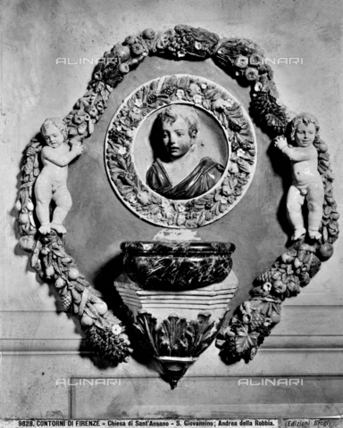 BGA-F-009828-0000 - Round with San Giovannino and two Putti, glazed ceramic, Andrea della Robbia (1435-1525 / 1528), Oratory of Sant'Ansano, Fiesole - Date of photography: 1890 ca. - Alinari Archives-Brogi Archive, Florence