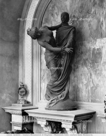 """BGA-F-010556-0000 - """"Dramma Eterno"""", scultura del Monumento della Famiglia Celle, opera di Giulio Monteverde situata nel Cimitero di Staglieno, presso Genova - Data dello scatto: 1900 ca. - Archivi Alinari-archivio Brogi, Firenze"""