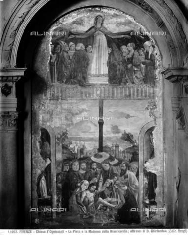 BGA-F-011402-0000 - Madonna della Misericordia (upper register) and the Pietà (lower register), fresco, Domenico Ghirlandaio (1449-1494), Altare Vespucci, Church of Ognissanti, Florence - Date of photography: 1900-1910 - Alinari Archives-Brogi Archive, Florence