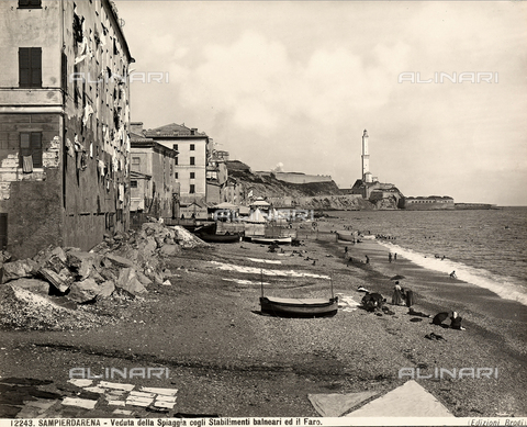 BGA-F-012243-0000 - View of the beach of Sampierdarena with the sea establishment.