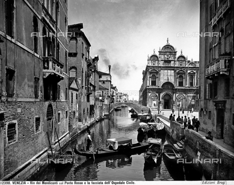 BGA-F-012398-0000 - View of Beggar's Canal with the Ponte Rosso and the ex Municipal Hospital, Venice.