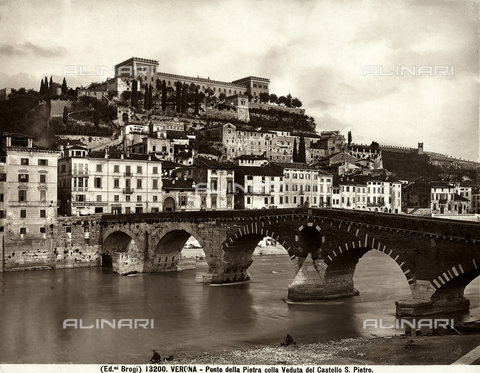 BGA-F-013200-0000 - View of the Ponte della Pietra, or Stone Bridge, and the Castello di San Pietro in Verona
