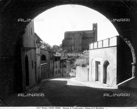 BGA-F-013420-0000 - Descending street with the Church of San Domenico in the background, Siena.