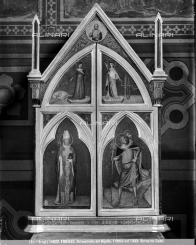 BGA-F-014822-0000 - Closed tabernacle with St. Christopher and St. Martin, oil on panel, Bernardo Daddi (1290 ca.-1348), Bigallo Museum, Florence - Date of photography: 1915-1920 ca. - Alinari Archives-Brogi Archive, Florence