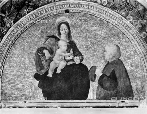 BGA-F-017107-0000 - Madonna with Child and donor, fresco Cesare da Sesto (1477-1523), convent of Sant'Onofrio al Gianicolo, Rome - Date of photography: 1915-1920 ca. - Alinari Archives-Brogi Archive, Florence