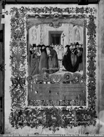 BGA-F-021435-0000 - Consacrazione della Basilica di Santa Maria del Fiore a Firenze, miniatura, Francesco d'Antonio del Cherico (1433-1484), Biblioteca Laurenziana, Firenze - Data dello scatto: 1920-1930 - Archivi Alinari, Firenze