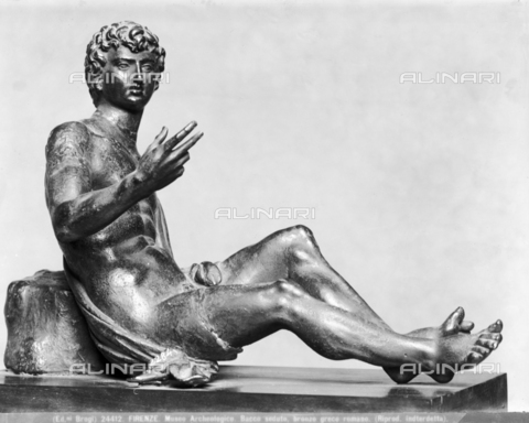 BGA-F-024412-0000 - Bacchus seated, Greco-Roman bronze, National Archaeological Museum, Florence - Date of photography: 1920-1930 ca. - Alinari Archives-Brogi Archive, Florence