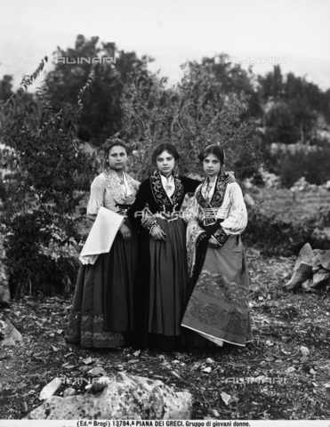 BGA-F-13784A-0000 - Three girls photographed in traditional dress in Piana dei Greci, now Piana degli Albanesi, in Sicily.