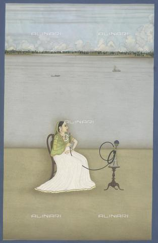 BLB-F-009253-0000 - Woman smoking a hookah in front of the Ganges river, watercolor, 18th century Indian school, British Library, London - The British Library Board/Alinari Archives, Florence