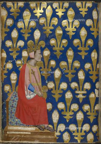 BLB-F-012412-0000 - Robert of Anjou, king of Naples, miniature, Tuscan unknown of the fourteenth century, British Library, London - The British Library Board/Alinari Archives, Florence