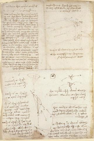 "BLB-F-018584-0000 - Notes and drawings by Leonardo da Vinci, from the ""Notebook of Leonardo da Vinci"" (Italy, early 16th century), Arundel 263, f.129v, British Library, London - The British Library Board/Alinari Archives, Florence"