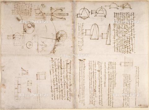 "BLB-F-018586-0000 - Notes and drawings by Leonardo da Vinci, from the ""Notebook of Leonardo da Vinci"" (Italy, early 16th century), Arundel 263, ff.133v,130, British Library, London - The British Library Board/Alinari Archives, Florence"