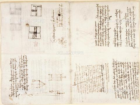 "BLB-F-018588-0000 - Notes and drawings by Leonardo da Vinci, from the ""Notebook of Leonardo da Vinci"" (Italy, early 16th century), Arundel 263, ff.132v,131, British Library, London - The British Library Board/Alinari Archives, Florence"