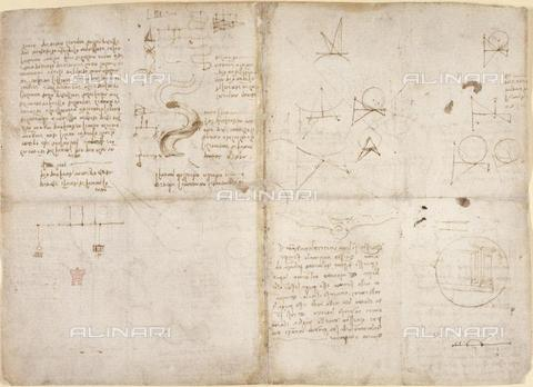 "BLB-F-018590-0000 - Notes and drawings by Leonardo da Vinci, from the ""Notebook of Leonardo da Vinci"" (Italy, early 16th century), Arundel 263, ff.135v,134, British Library, London - The British Library Board/Alinari Archives, Florence"