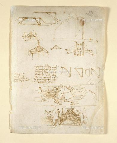 BLB-F-018592-0000 - Drawings by Leonardo Da Vinici on on the mechanical powers and forces, percussion, gravity, motion, optics and astronomy, with various arithmetical and geometrical propositions, from 'Leonardo Da Vinci's Notebook of observations' of  Vinci, Arundel 263, f.224, British Library, London - The British Library Board/Alinari Archives, Florence
