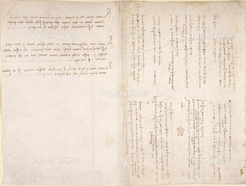 "BLB-F-018595-0000 - Notes by Leonardo da Vinci  inclluding a memorandum of money lent to ''Vante Miniatore' dated 8 April 1503, from the ""Notebook of Leonardo da Vinci"" (Italy, early 16th century), Arundel 263, ff.229v,226, British Library, London - The British Library Board/Alinari Archives, Florence"