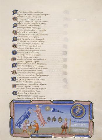 BLB-F-062472-0000 - Manoscritto raffigurante il Cielo della Luna, Paradiso - Divina Commedia, miniatura di Giovanni di Paolo, XV sec., Yates Thompson 36, f.132, British Library - The British Library Board/Archivi Alinari, Firenze