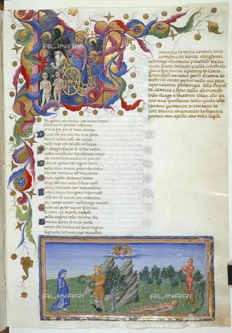 BLB-F-062857-0000 - Divine Comedy, Paradiso, Canto I, Initial L and Ascent to the Terrestrial Paradise, illuminated page, Priamo della Quercia (c. 1400-1467), British Library, London - The British Library Board/Alinari Archives, Florence