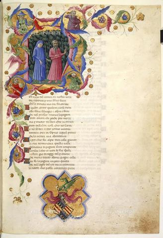 BLB-F-063274-0000 - Divina Commedia, Inferno, Canto I, Initial N, Dante and Virgilio in the dark forest and the emblem of Alfonso V king of Naples and Sicily, illuminated page, Priamo della Quercia (c. 1400-1467), British Library, London - The British Library Board/Alinari Archives, Florence