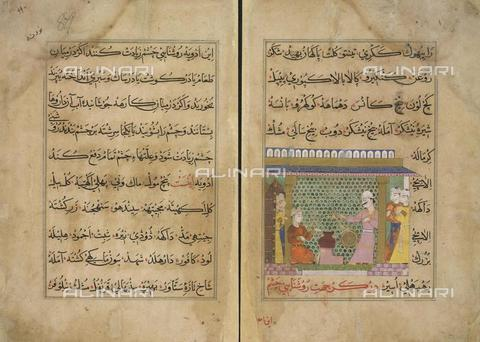 "BLB-F-065907-0000 - Sultan Ghiyath al-Din supervises the preparation of medicines, image taken from ""Ni'matnama-i Nasir al-Din Shah"" (1495-1505), British Library, London - The British Library Board/Alinari Archives, Florence"