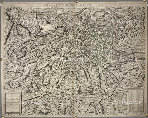 """BLB-F-077240-0000 - Mappa di Roma, tratta da """"Nova Urbis Romae Descriptio"""" (Roma 1577) di Étienne Dupérac (o Stefano Dupérac 1535-1604) e curata da Antoine Lafréry (1512-1577), British Library, Londra - The British Library Board/Archivi Alinari, Firenze"""