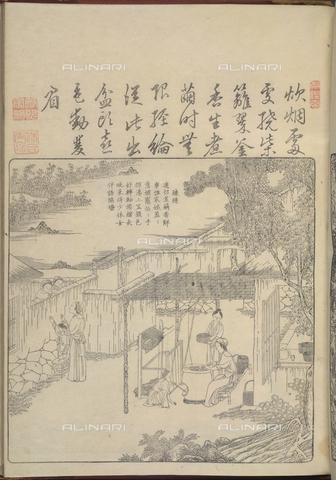 """BLB-F-081649-0000 - Lavorazione della seta tratta da """"Geng zhi tu"""" (Beijing,1696) di Jiao Bingzhen, British Library, Londra - The British Library Board/Archivi Alinari, Firenze"""