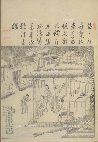 "BLB-F-081650-0000 - Offerte di seta per un altare tratta da ""Geng zhi tu"" (Beijing,1696) di Jiao Bingzhen, British Library, Londra - The British Library Board/Archivi Alinari, Firenze"