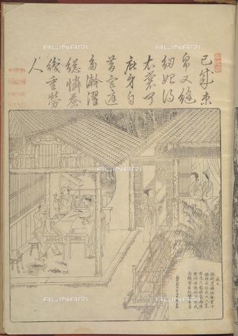 """BLB-F-081652-0000 - Lavorazione della seta tratta da """"Geng zhi tu"""" (Beijing,1696) di Jiao Bingzhen, British Library, Londra - The British Library Board/Archivi Alinari, Firenze"""