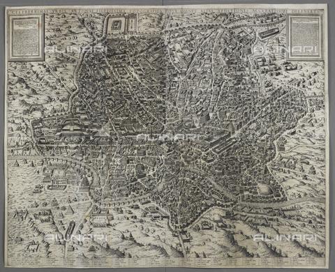 """BLB-S-00B200-4288 - """"Celeberrimae urbis antiquae fidelissima topographia"""", mappa di Roma, incisione, Mario Cartaro (1540–1620), British Library, Londra - The British Library Board/Archivi Alinari, Firenze"""