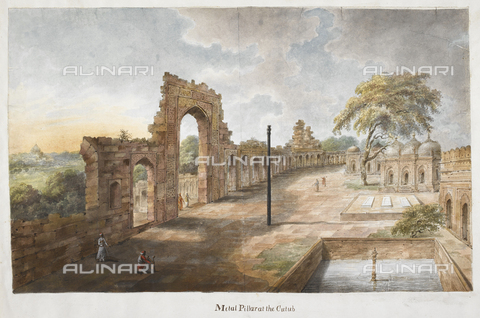 "BLB-S-00B201-0034 - The iron column and the great portal of the Mosque al-Islam Quwwat, illustration of the Hastings Albums, watercolor, ""Sita Ram"", English school, British Library, London - The British Library Board/Alinari Archives, Florence"