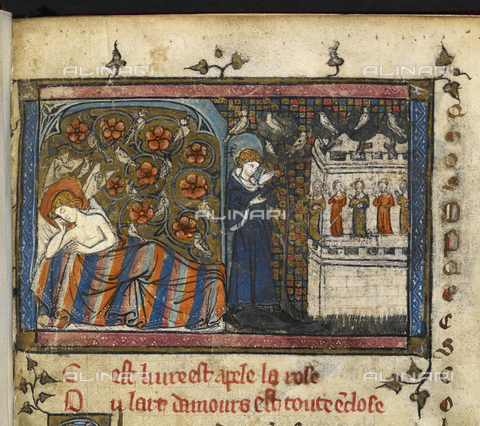 "BLB-S-00B201-5324 - Lover dreams of going to the garden of Deduit, illuminated page, XI century unknown, from ""Roman de la Rose"" by Guillaume De Lorris, British Library, London - The British Library Board/Alinari Archives, Florence"